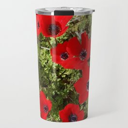 Wild Anemone Flowers In A Spring Field Travel Mug