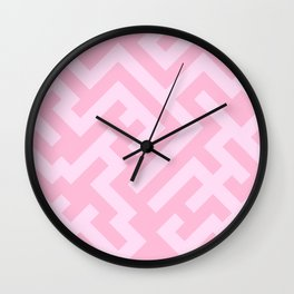 Pink Lace Pink and Cotton Candy Pink Diagonal Labyrinth Wall Clock