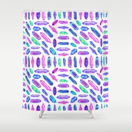 Crystal Shard Mosaic in Rainbow Bubblegum + White Shower Curtain