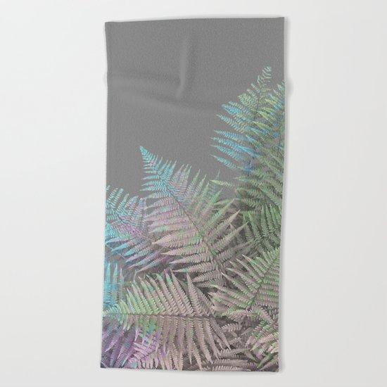 Rainbow Fern on Grey #decor #buyart #foliage Beach Towel