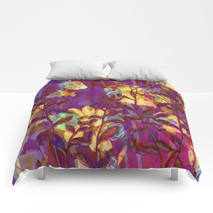 yellow flowers on purple Comforters