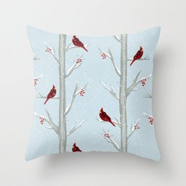 Red Cardinal Bird In The Winter Forest Throw Pillow