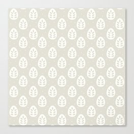 Abstract blush gray white polka dots leaves illustration Canvas Print