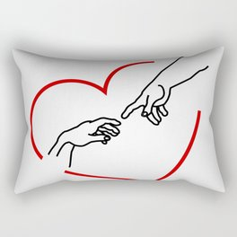 The creation of Adam- The hands of God and Adam within a red heart Rectangular Pillow
