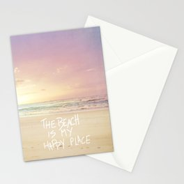 the beach is my happy place Stationery Cards