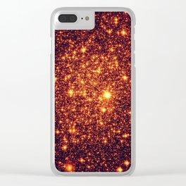 Copper Bronze Glitter Stars Clear iPhone Case