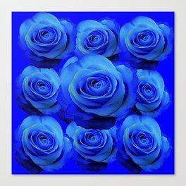 AWESOME BLUE ROSE GARDEN  PATTERN ART DESIGN Canvas Print