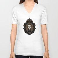 edgar allan poe V-neck T-shirts featuring Edgar Allan Poe by Designs By Misty Blue (Misty Lemons)