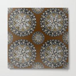 Fall Inspired Black, Brown, and Gold Mandala Textile Pattern Metal Print