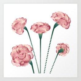 Line Carnations 1 Art Print