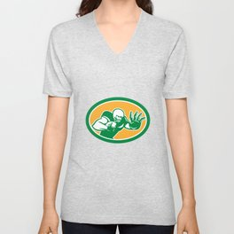 American Football Player Fend Off Oval Retro Unisex V-Neck