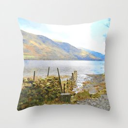 The Shores of Buttermere, Lake District, UK Watercolour Painting Throw Pillow