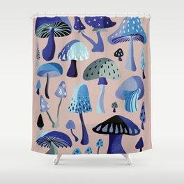 Mushrooms – Blue & Blush Shower Curtain