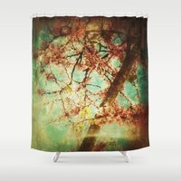 mulan Shower Curtains featuring Vintage Abstract Blossom by Victoria Herrera
