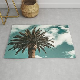Lush Palm {1 of 2} / Teal Blue Sky Tree Leaves Art Print Rug