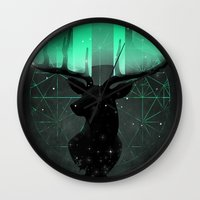 northern lights Wall Clocks featuring Northern Lights by angrymonk