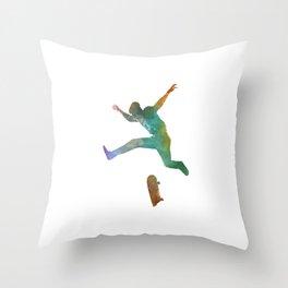 Man skateboard 02 in watercolor Throw Pillow