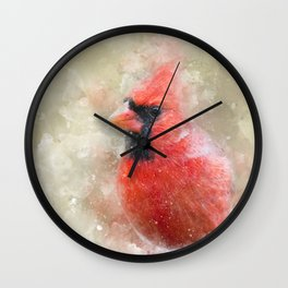 Northern Cardinal Watercolor Splatter Wall Clock
