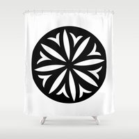 pasta Shower Curtains featuring Pasta Series: Corzetti by Michelle Ghiotti
