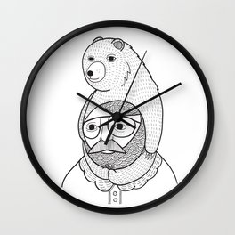 On how baby bears are often used as winter hats Wall Clock