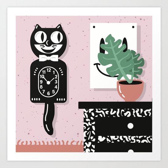 Cat Clock  Art Print