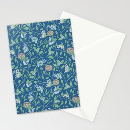 Branches with flowers and bird nests on blue background Stationery Cards