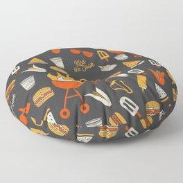 Kiss the Cook BBQ Pattern Floor Pillow