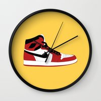 air jordan Wall Clocks featuring Air Jordan 1 by Dennis Cortes