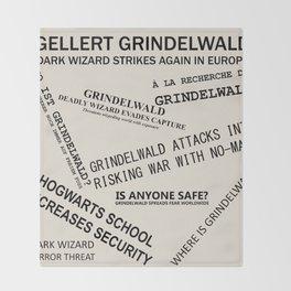 1926 Wizard Newspaper Headlines - Grindelwald Throw Blanket