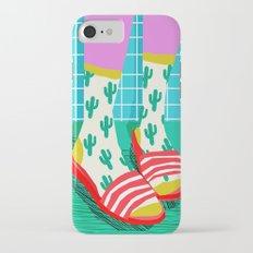 Sliders - memphis throwback retro neon 1980s 80s style pop art shoe fashion grid pattern socks Slim Case iPhone 7