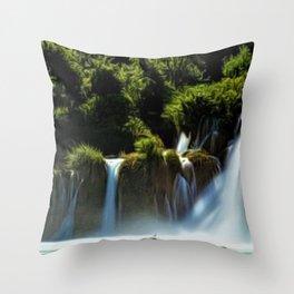 Krka Waterfall Landscape No. 1, Croatia Throw Pillow