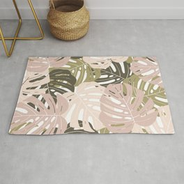 Green monstera deliciosa leaves Jungle leaves Palm leaves Tropical Rug