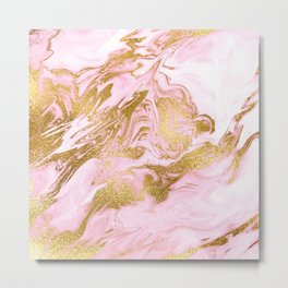 Rose Gold Mermaid Marble Metal Print