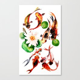 Koi Fish in Pond, Feng Shui Canvas Print