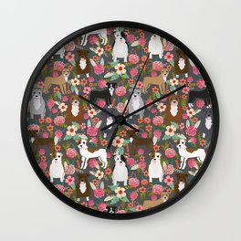 Pitbull mixed coat colors dog breed lover pibbles pitbulls florals gifts Wall Clock