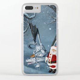 Santa Claus with ice dragon in a winter landscape Clear iPhone Case