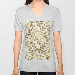 Gold Leaves on White Unisex V-Neck
