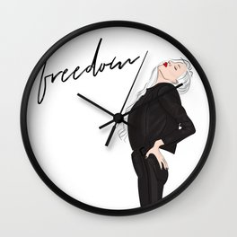 Girl in leather jacket Wall Clock