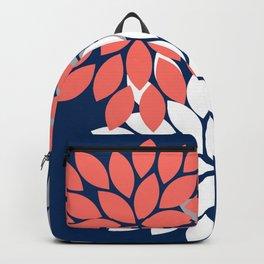 Flower Burst Petals Floral Pattern Navy Coral Gray Backpack