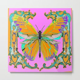 Gold Monarch Butterfly Dragonfly Morphing Pink Fantasy Abstract Metal Print