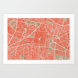 Mexico city map classic Art Print