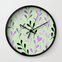seaweed petals green magenta botanical plants seamless pattern Wall Clock