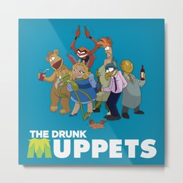 Drunk Muppets Cartoon Parody Metal Print