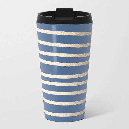 Simply Drawn Stripes White Gold Sands on Aegean Blue Metal Travel Mug