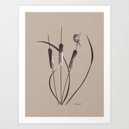 Cattails and Bird Art Print