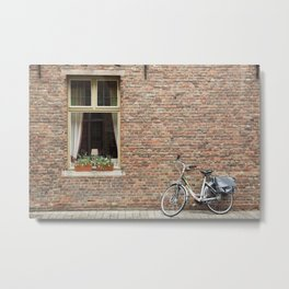 Stained Glass Window with Bike, Bruges Metal Print