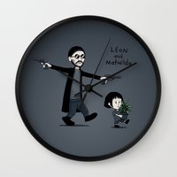 hobbes Wall Clocks featuring Leon and Mathilda by Justyna Dorsz