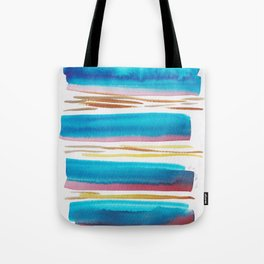 10   |181026 Lines & Color Block | Watercolor Abstract | Modern Watercolor Art Tote Bag