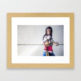 Katie Cosplays as Justice League Wonder W oman Framed Art Print