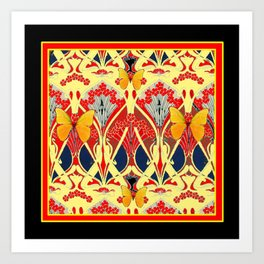 Ornate Black & Yellow Art Nouveau Butterfly Red Designs Art Print